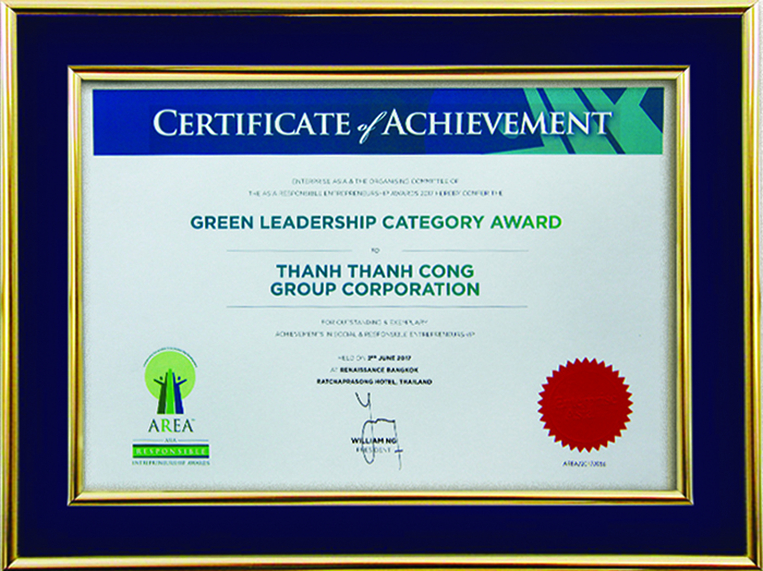 ASIA RESPONSIBILITY ENTREPRENUERSHIP AWARDS 2017 – HẠNG MỤC GREEN LEADERSHIP